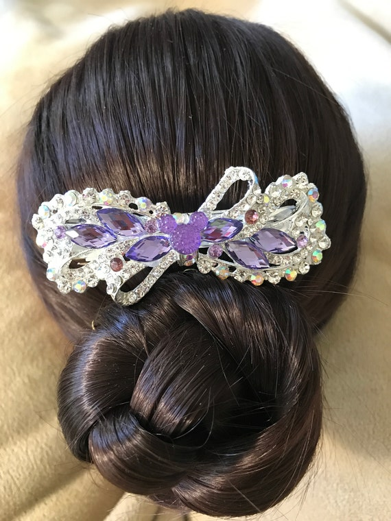 Disney Inspired Barrette-Dapper Days-Rhinestone Hair Accessory-Bachelorette Party-Bridal Shower Gift-Engagement Party-Purple Wedding