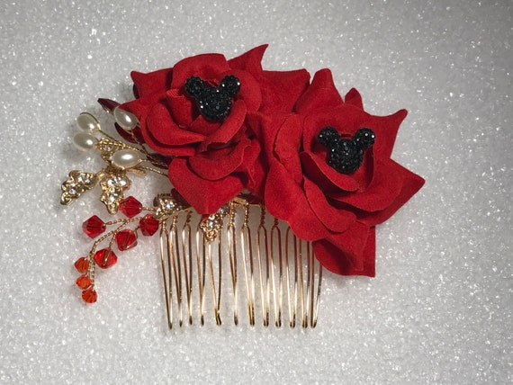 Disney Inspired Wedding Comb-Hair Jewelry-Bridesmaids Gift-Shower Gift-Double Red Rose Comb-Classic Black Hidden Mickey