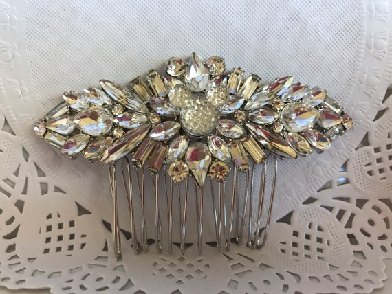 Hidden Mickey Wedding Comb-Crystal Rhinestones-Silver Tone Setting-Disney Inspired Accessory-Dapper Days
