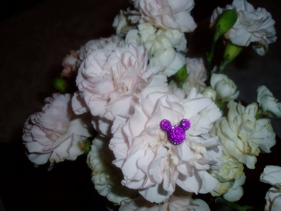 6 Hide Purple Mouse Ears in your  Bouquets for Disney themed Wedding Floral Pins Flower Picks