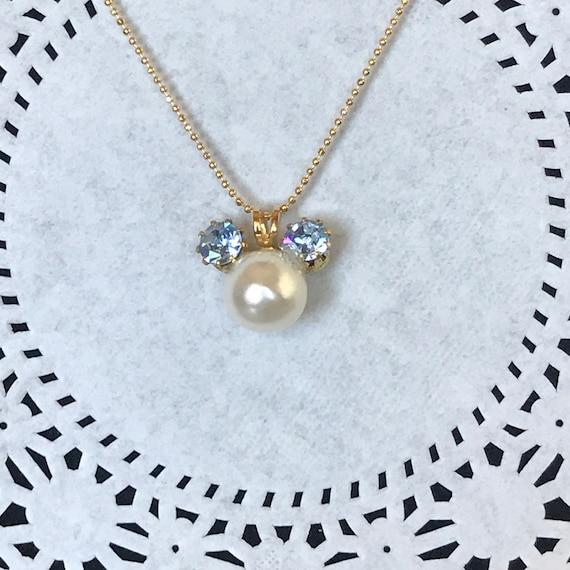 Mickey Minnie Vintage Rhinestones and Pearl Necklace-Disney Bridal Party-Disney Trip-Cinderella Gift-Shower Gift-Disney Wedding