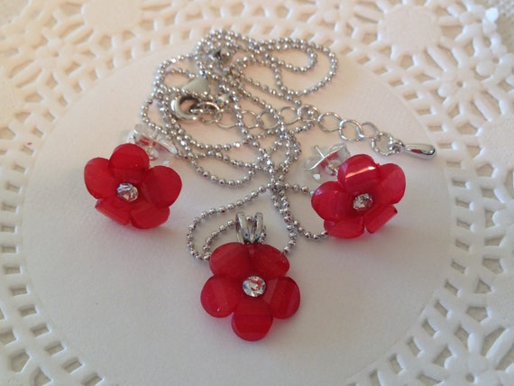 Christmas Necklace Set  Red Flower Christmas Party Wear Stocking Gift Matching Earrings Floral Pendant Jewelry Set