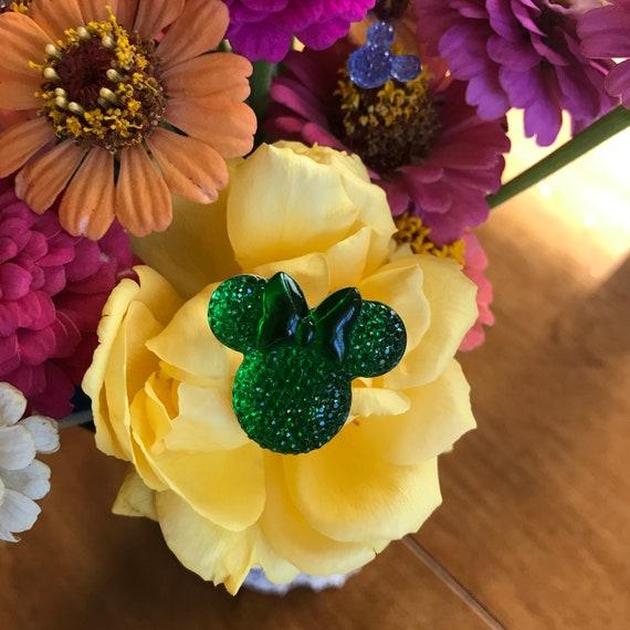Minnie Mouse Flower Pins-Disney Wedding Bouquet Flower Picks-Mouse Ears  Bouquet Picks-Bright Green