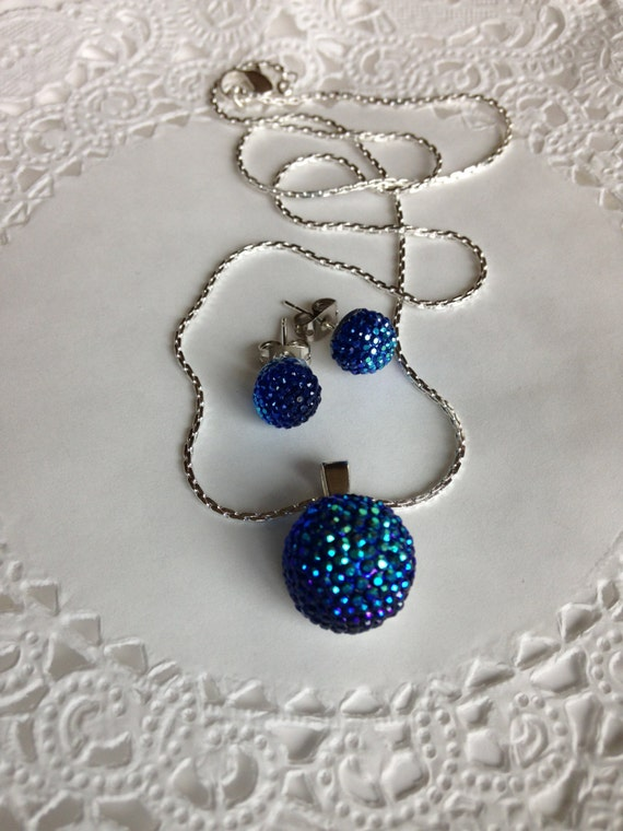 Peacock Blue Necklace & Earring Set  Perfect for Prom-Bridal Party-Birthday Gift