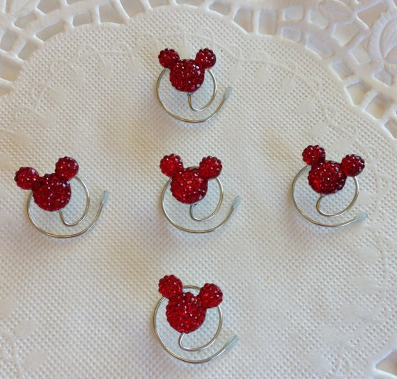 MOUSE EARS Hair Swirls for Mouse Themed Wedding in Dazzling Bright Red Acrylic Coils Spins Spirals