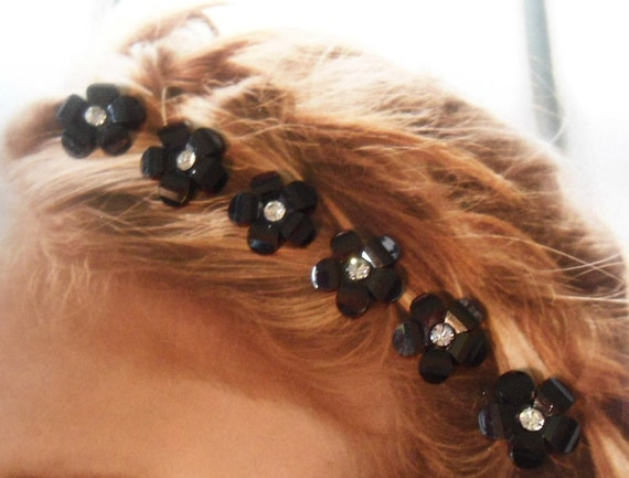 Springtime Flower Hair Swirls Twists  Spins or  Coils in Dazzling Black Acrylic