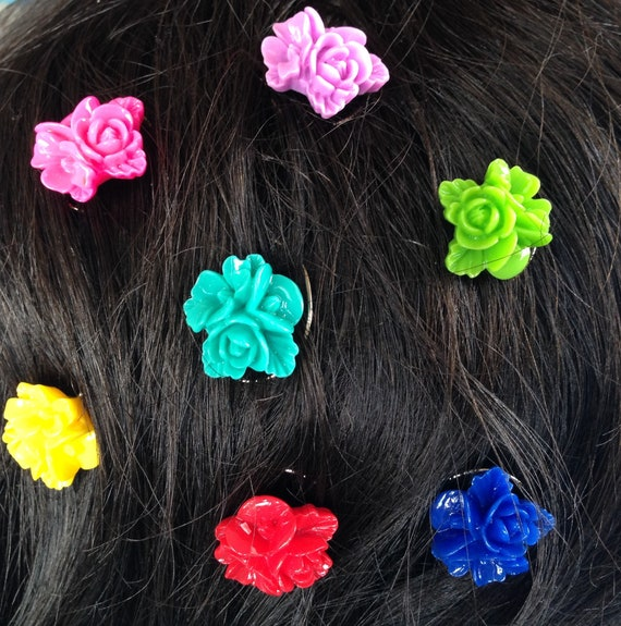 Prom Hair Jewelry Hair Swirls Spin Pins Spirals Rainbow Flowers (Qty 6) Coils Twists Hairswirls1