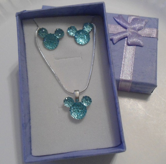 MOUSE EARS Necklace and Earrings for Wedding Party-Light Aqua Acrylic-Disney Flower Girl