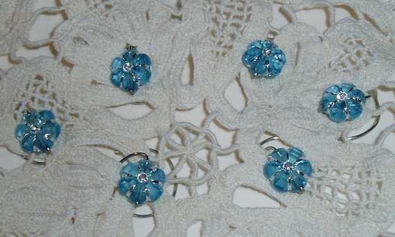 Flower Hair Swirls Beautiful Acrylic Blue and Silver Spins Twists Spirals Coils