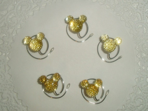 MOUSE EARS Hair Swirls for Disney Wedding in Dazzling Yellow Acrylic