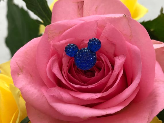 24 Hidden Mickeys Flower Pins-Disney Wedding Bouquets-Royal Blue Floral Pins-Flower Picks-Corsage Pins