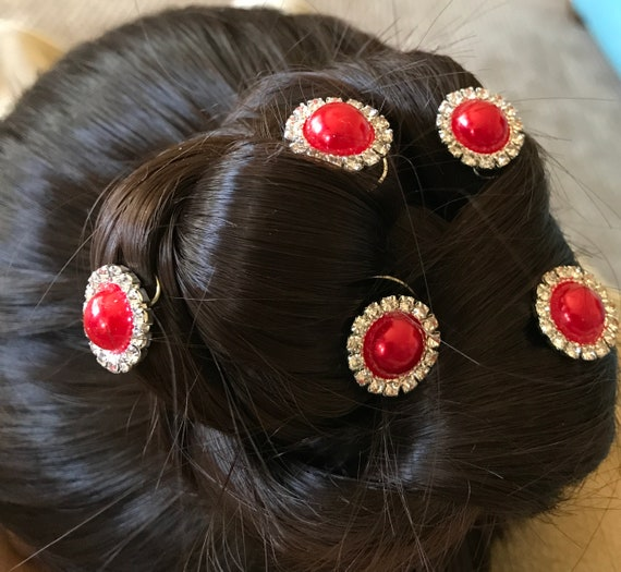 Christmas Hair Jewels-Rhinestones and Red Pearls-Bridesmaids Hair Swirls-Spins-Spirals-Prom Coils-Wedding Hair-New Year's Eve Party