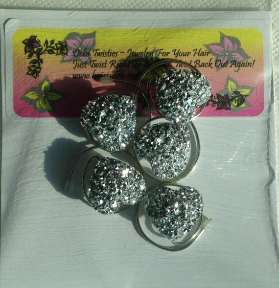 Heart Hair Swirls-Faux Druzy Hair Swirls-Silver Valentine Sparkle Hearts -Proms, Dancers, Skaters, Bridesmaid Updos