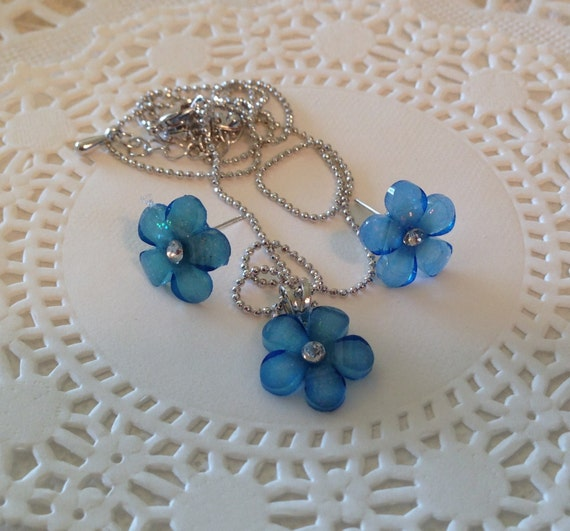Necklace Earring Set in Blue Flower-Rhinestone Center-Stocking Stuffer-Christmas Present-Birthday Gift