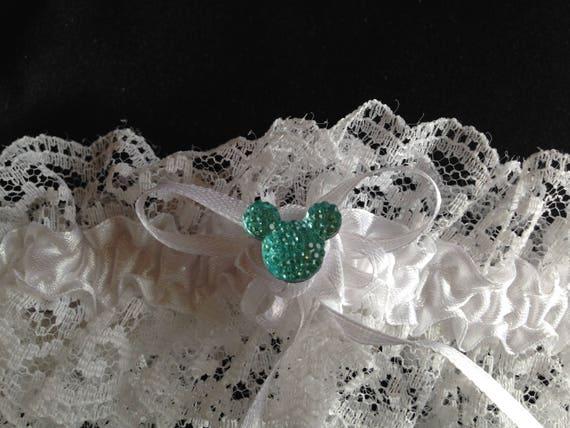 Disney Wedding Garter Bridal Garter Something Blue Shower Gift