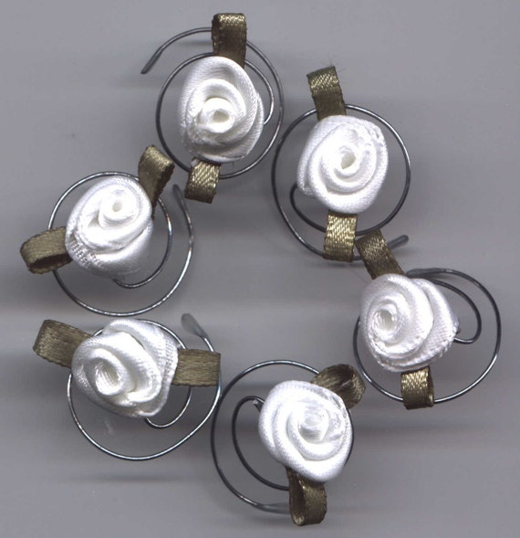 Beautiful White Roses for your Hair Swirls Spins Twists Spirals Coils
