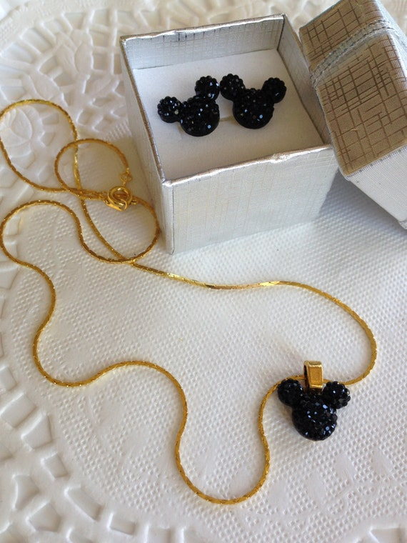 MOUSE EARS Necklace and Earrings Set-Disney Wedding Party-Black and Gold Tone Setting-Birthday Gift-Christmas Stocking Stuffer
