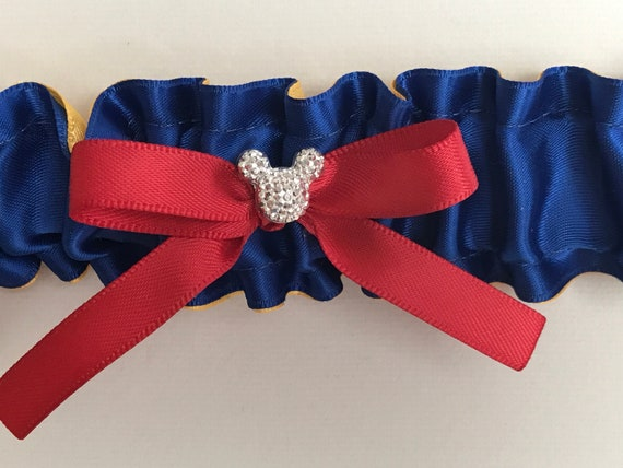 Snow White Wedding Garter-Disney Inspired Bridal Garter-Royal and Gold-Disney Shower Gift