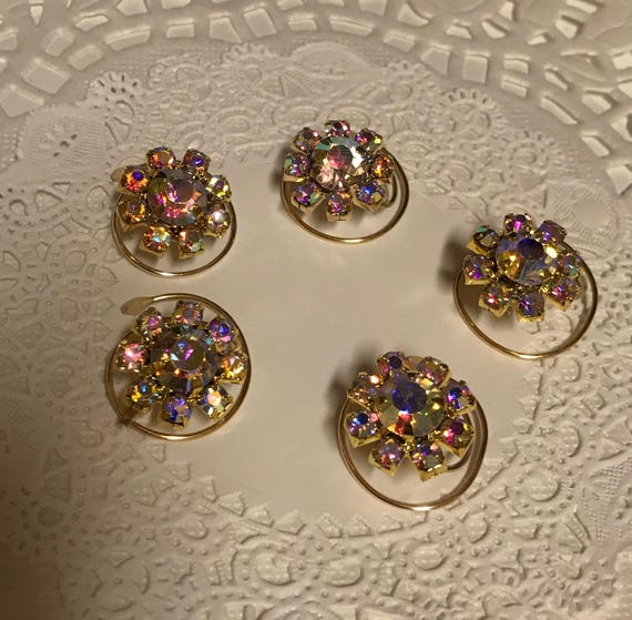 Ballroom Dancing-Swarovski Hair Spins-Clear AB Flower Hair Coils-Spirals-Hair Swirls