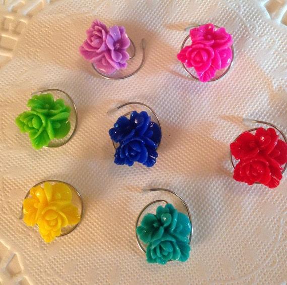 Prom Hair Jewelry Hair Swirls Spin Pins Spirals Rainbow Flowers (Qty 6) Coils Twists Hairswirls1