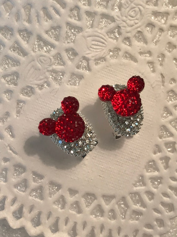 Hidden Mickey Earrings-Disney Inspired Bride-Disney World Wedding-Red and Clear Rhinestone Earrings