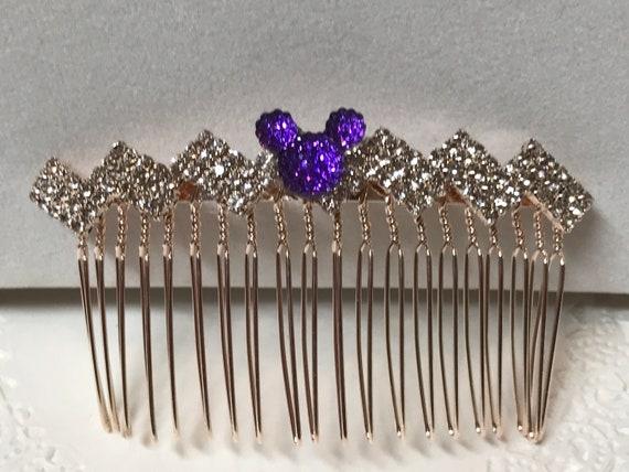 Mickey Wedding Comb-Crystal Rhinestones-Rose Gold Tone Setting-Disney Inspired Accessory-Purple Mickey Silhouette