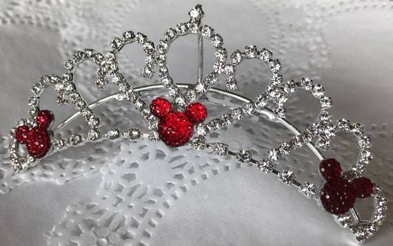 Bridesmaids Tiara Comb-Disney Wedding Comb Tiara-Crystal Rhinestones-Silver Tone Setting-Red Hidden Mickey or Choose Color