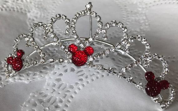 Disney Wedding Comb Tiara-Crystal Rhinestones-Silver Tone Setting-Red Hidden Mickey