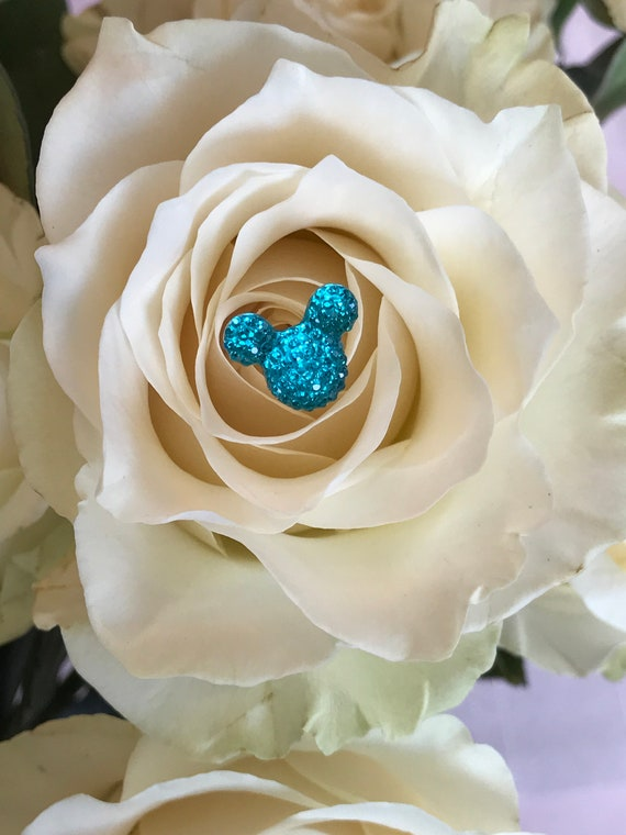 Hidden Mickeys Bouquet-Disney Inspired Wedding Centerpiece-Floral Picks-Fairy Tale Wedding Flower Pins-Bright Aqua or Choose Color