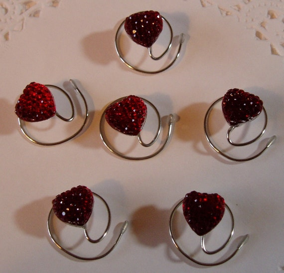 Heart Hair Swirls for Bridal Party in Dazzling Red Acrylic
