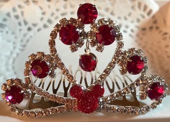 Fuchsia Jeweled Hidden Mickey-Disney Wedding Comb Tiara-Crystal and Fuchsia Rhinestones-Silver Tone Setting-