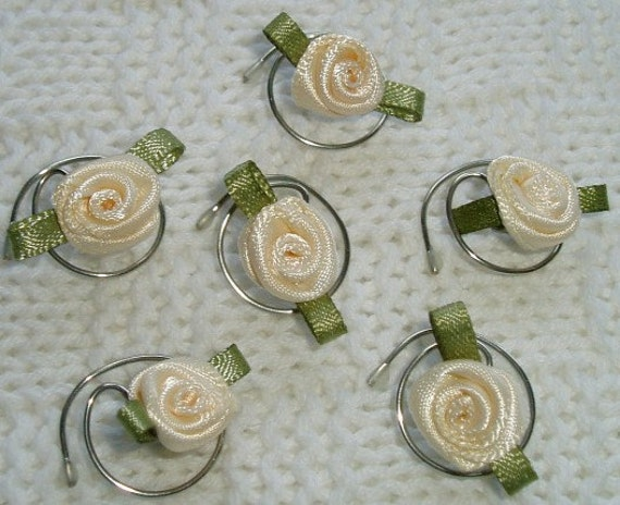Cream Rose Wedding Party Hair Swirls-Spins-Flower Girls-Hair Twists-Spirals-Hair Coils-Brides-Ballerinas-