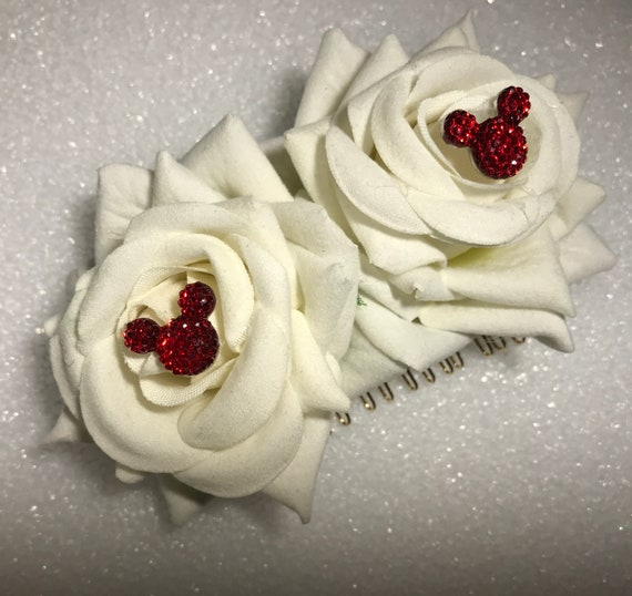 Disney Inspired Wedding Comb-Hair Jewelry-Bridesmaids Gift-Shower Gift-Double White Rose Comb-Classic Red Hidden Mickey