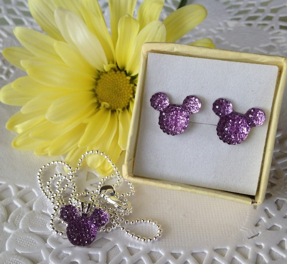 MOUSE EARS Necklace and Earrings Set for Themed Wedding Party in Dazzling Lavender Acrylic