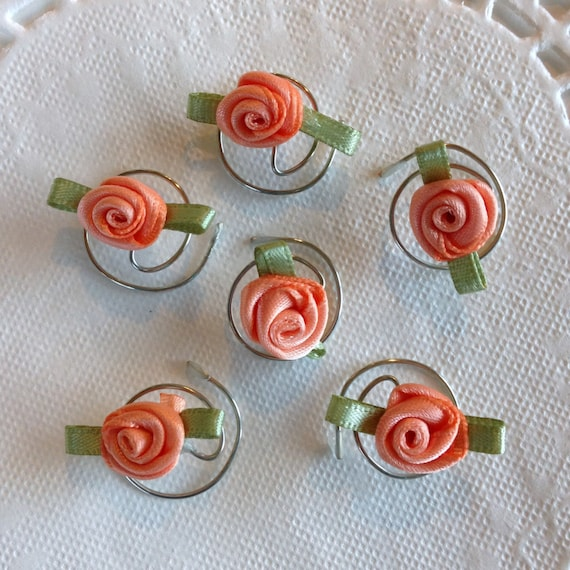 Hair Accessory in Beautiful Peach Roses for your Hair Swirls Spins Twists Spirals CoilsTwisties