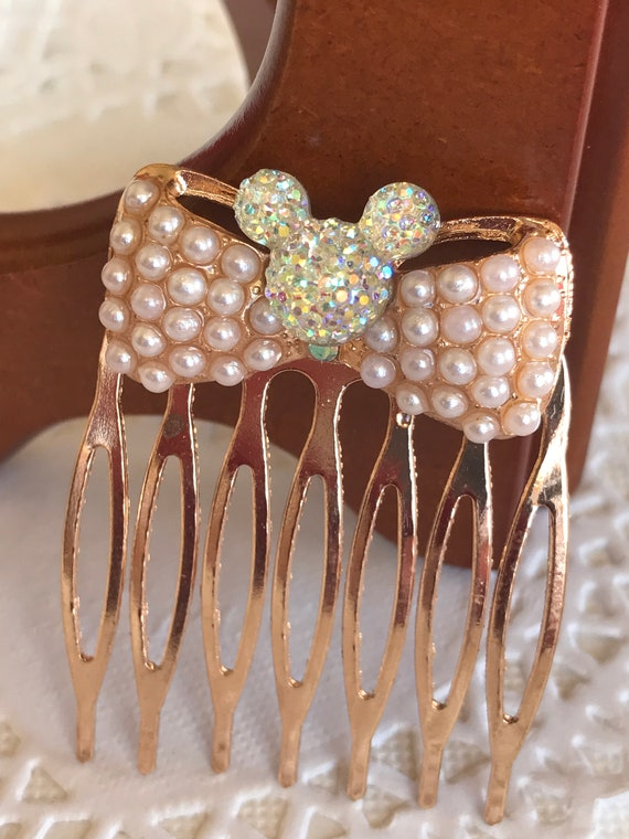 Golden Pearl Comb-Mouse Head Silhouette-Disney Wedding Bridesmaids-Flower Girl-Bride