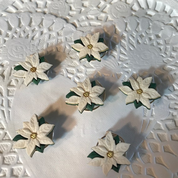 6 Cream Poinsettia Hair Swirls for Christmas Wedding Party Hair Twists Hair Spins