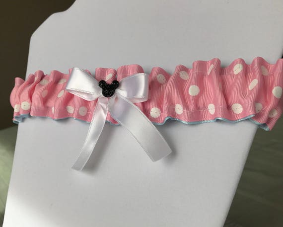 Disney Inspired Wedding Garter-Bridal Garter-Minnie Pink and White Polka Dot-Disney Shower Gift