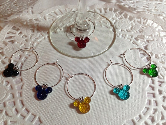 Mickey Wine Charms-Bright Colors-Disney Themed Shower Party Gift-Disney Wedding Reception-Rehearsal Dinner