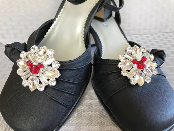 Disney Inspired Wedding Shoe Clips-Mickey Red-Bachelorette  Party-Engagement Party Shoes-Going Away Outfit-Shower Gift