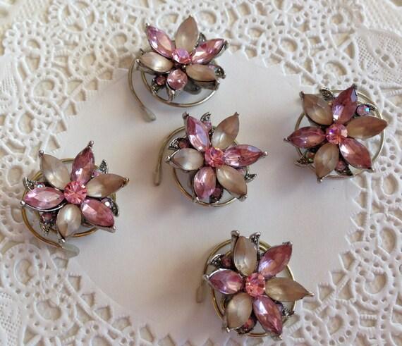 Victorian Hair Swirls-Dusty Pink Flower-Hair Twists-Hair Spins-Hair Jewelry-Wedding Party-Bridesmaids