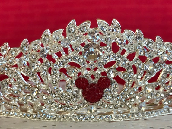 Rhinestone Silver Tone Tiara-Hidden Mickey Inspired-Disney Themed Wedding-Bride To Be Shower Gift
