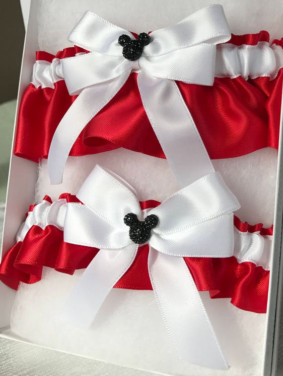 MOUSE EARS Wedding Garter-Bridal Garter Keepsake-Tossing Garter Set-White on Red with Black Mickey