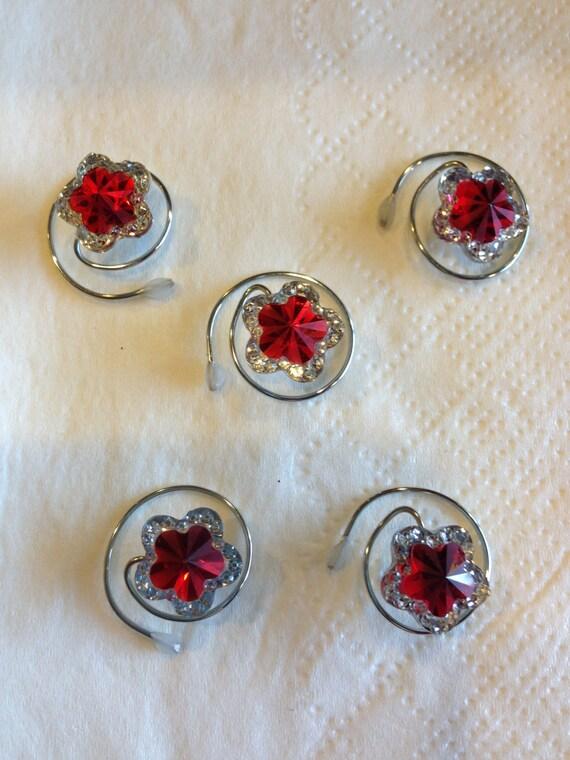 Hair Swirls Hair Jewels Hair Spins Hair Spirals Star Flower Red Silver Trim Hair Accessory Hair Jewels