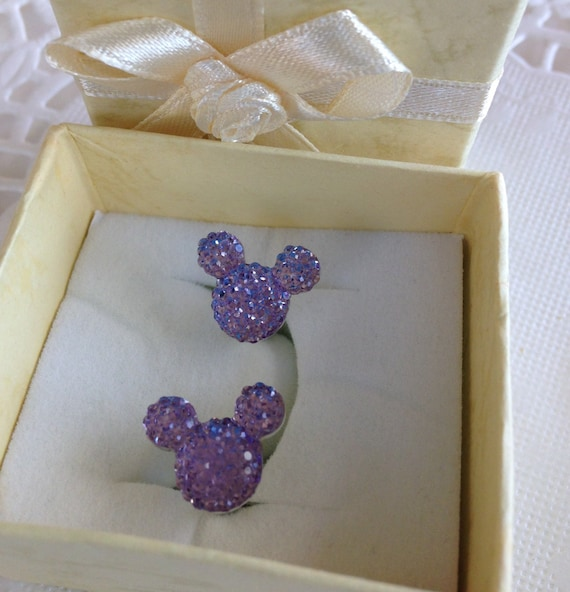 MOUSE EARS Cufflinks for Wedding Party in Dazzling Lavender Acrylic