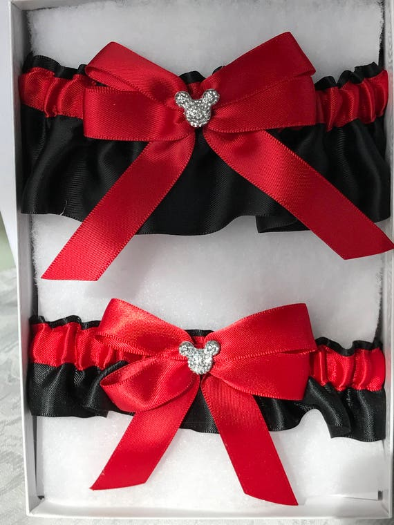 Disney Wedding Garter Bridal Garter Keepsake and Tossing Garter Set Red on Black with Silver Mouse