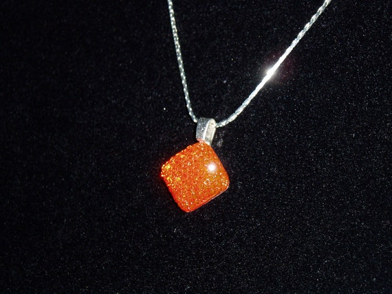 Dazzling Orange Square NECKLACE-Perfect for Prom Bridesmaids-Everyday Wear