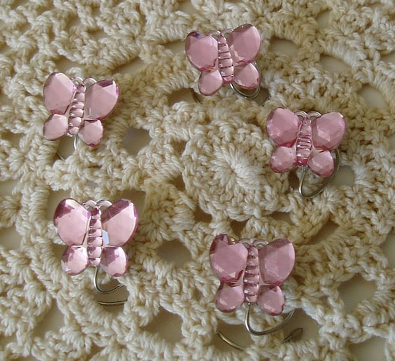 Butterfly Hair Swirls Sparkling Pink Spins Spirals Twisties Coils-Spring Bridal Party-Summer Wedding