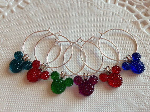Mickey Mouse Wine Charms in Jewel or Pastel Colors Disney Inspired Reception Party Bachelorette  Party