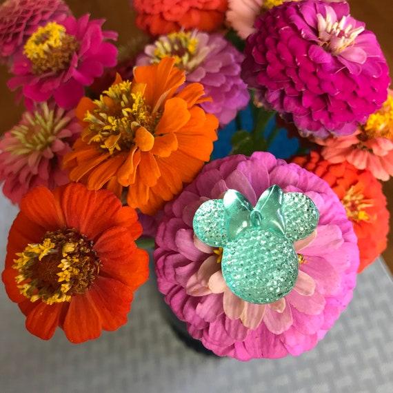 Minnie Mouse Flower Pins-Disney Wedding Bouquet Flower Picks-Mouse Ears  Bouquet Picks-Aqua Baby Shower